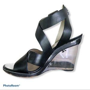 MICHAEL KORS lucite black wedge sandals